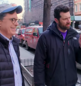 """Billy Eichner and Stephen Colbert pop the """"New York bubble,"""" and it makes a marvelous sound"""