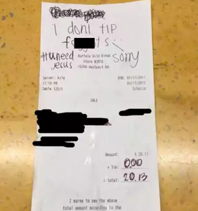Customer writes antigay slur on receipt instead of tipping