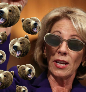 Bear foe Betsy Devos gets memed and mocked as she's handed the keys to our children's futures