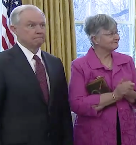 8 times Jeff Sessions looked legitimately terrified during his swearing in as Attorney General