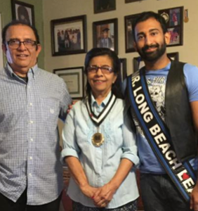 Mr. Long Beach Leather poses with his adorable Pakistani grandparents