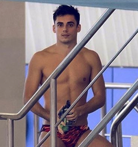 Olympic diver Chris Mears visits Cosmo office in tiny Speedo; staff goes bananas