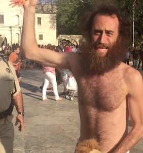 What happens when a cop discovers this Speedo-clad man riding his wooden horse around the Alamo?