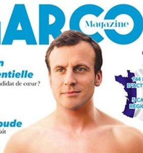 French presidential hopeful Emmanuel Macron appears topless on cover of gay magazine