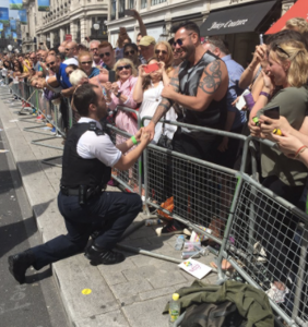 That time a police officer broke ranks with his colleagues to propose to his boyfriend at Pride