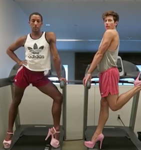 """WATCH: Two men """"work on their fitness"""" — in pink heels, no less"""