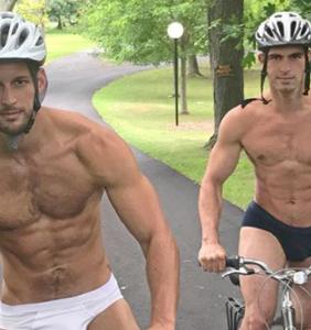 Max Emerson flaunts new invisible bike apparel