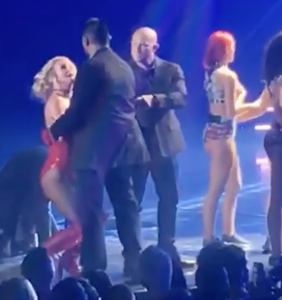 WATCH: Britney Spears looks on in fright as man rushes her stage: 'Does he have a gun?'