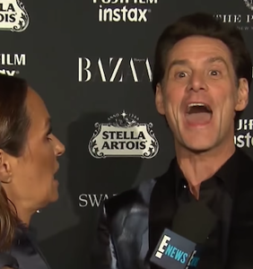 Jim Carey gave a crazed red carpet interview that must be seen to be believed