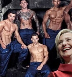 Hillary Clinton can't contain her joy over stripped-down studs