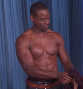 Sterling K. Brown strips down to ride a tractor on 'Ellen'