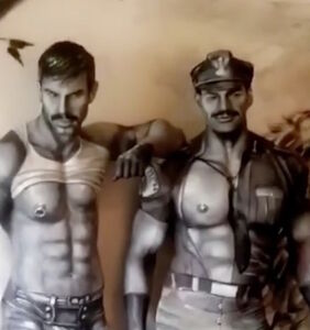 This is not a Tom of Finland illustration. It's two men covered in body paint. Can you even?