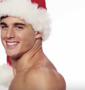 Pietro Boselli reimagines Santa as a shirtless, muscular athlete in sparkly hot pants