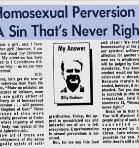 Read the horrible advice Billy Graham gave to a gay youth