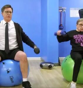 WATCH: Stephen Colbert gets jacked with Justice Ruth Bader Ginsburg