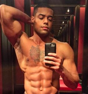 Fashion model Joshua Trusty shows off both sides of his oversized talent