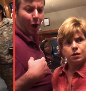 Woman caught on tape launching homophobic attack against two soldiers, carted off to jail sobbing