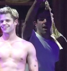 WATCH: Zachary Quinto leaves Charlie Carver wearing absolutely nothing on stage