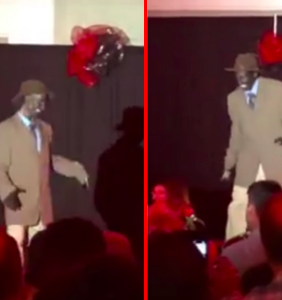 Audience watches in horror as black-faced drag performer puts on minstrel show at youth fundraiser