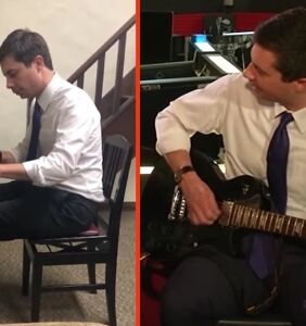 Mayor Pete Buttigieg tears it up on piano and guitar, and the crowd goes wild
