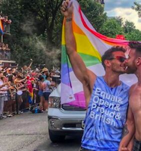 WATCH: Hunky kilted yoga star proposes to his boyfriend at DC Pride