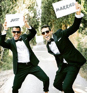 "PHOTOS: Forget ""boyfriend twins,"" the latest fad is ""twinning grooms"""