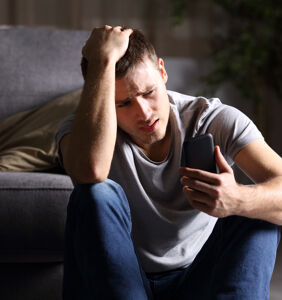 Man completely distraught over guy he's been chatting with who refuses to meet up