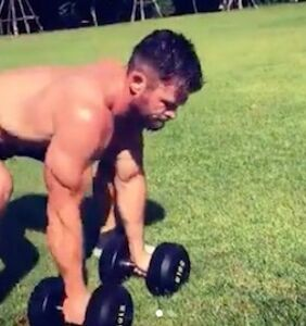 WATCH: Chris Hemsworth worked out so hard his shirt burst into flames
