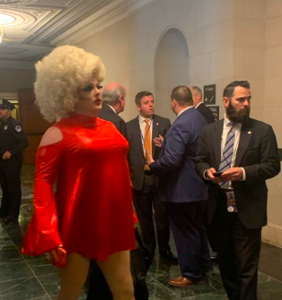 Drag queen arrives in style for first day of Trump's impeachment hearings