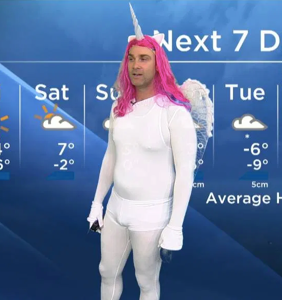 Meteorologist shows off his dad bod in magical, form-fitting unicorn costume