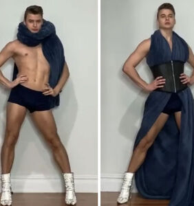 Dance instructor slays with his kitchen quarantine fashion displays