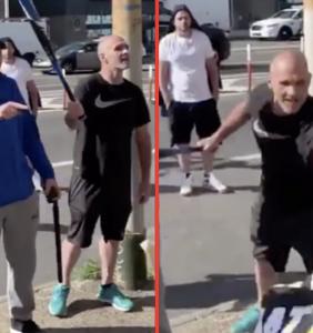 White supremacists wave bats and shout antigay slurs at peaceful Black Lives Matter protestors