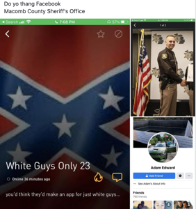 """Sheriff insists racist """"White Guys Only"""" Grindr profile doesn't belong to his officer"""