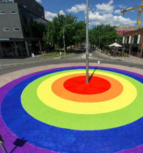 Rainbow crosswalks are such a hit that this town created a massive rainbow roundabout