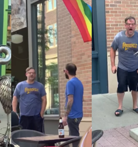 Man throws psychotic temper tantrum after someone tosses water on him for shouting antigay slurs