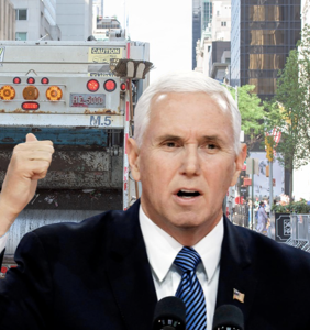 Trump campaign bus crashing into dump truck with Mike Pence on board is the perfect metaphor for 2020