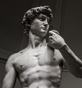 Who wore it (aka nothing) better — model Pietro Boselli or the statue of David?