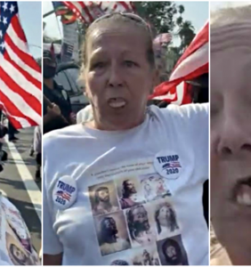 WATCH: Karen's dentures keep falling out as she screams racist chants at a Trump rally