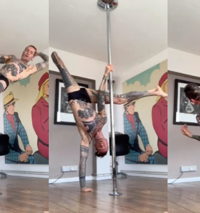 This tatted up gay amputee's pole dancing skills will blow you away