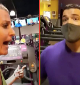 People are gagging over the hunky personal trainer in this Planet Fitness anti-masker Karen video