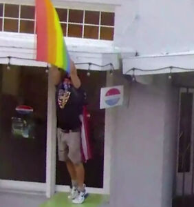 "Florida man dubbed ""Captain America"" steals restaurant's pride flag, attacks owner with it"