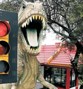 Christians Against Dinosaurs group seeks removal of T. rex statue outside local McDonald's