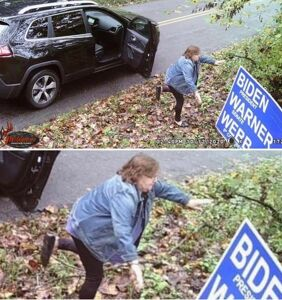 Woman caught tumbling from vehicle to steal Biden yard sign faces $2500 fine and a year in jail