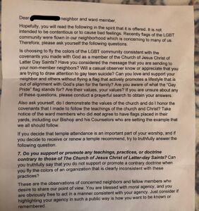 Pride flag causes uproar, anonymous letters in a Utah neighborhood