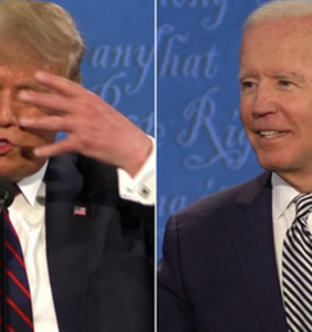 This clip of Trump mocking Biden for wearing a mask on Tuesday night hasn't aged well