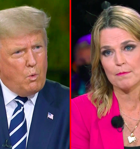 """The internet is stanning Savannah Guthrie for calling Trump a """"crazy uncle"""" to his face"""
