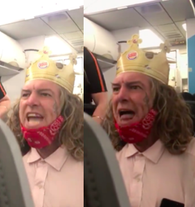 Toxic white male in paper hat kicked off flight for having racist temper tantrum before takeoff