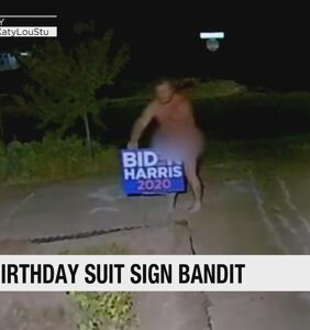 Naked man caught on camera stealing Biden/Harris sign from someone's front yard