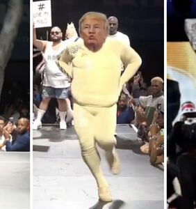 Trump and Biden face off on a ballroom runway in viral video