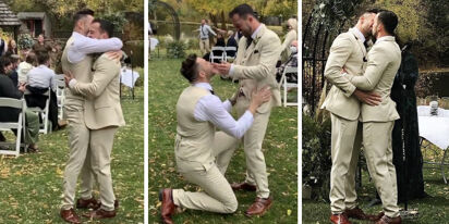 WATCH: Groom surprises husband with 'Stupid Love' flash mob at wedding